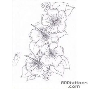 Hibiscus tattoo, the single flower, less swirly, more tribal and _32