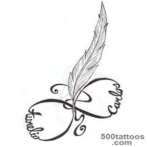 Black Feather Love Infinity Tattoo On Back Shoulder_35