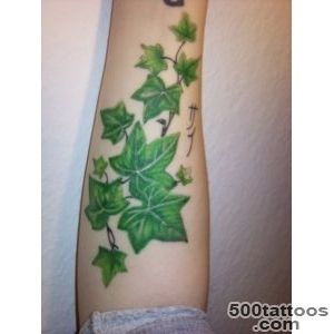 Green Ink Ivy Tattoo On Full Back_21
