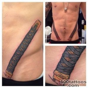 EL NIGRO TATTOO   Double Katana swords action on my man @gaulthierf_19