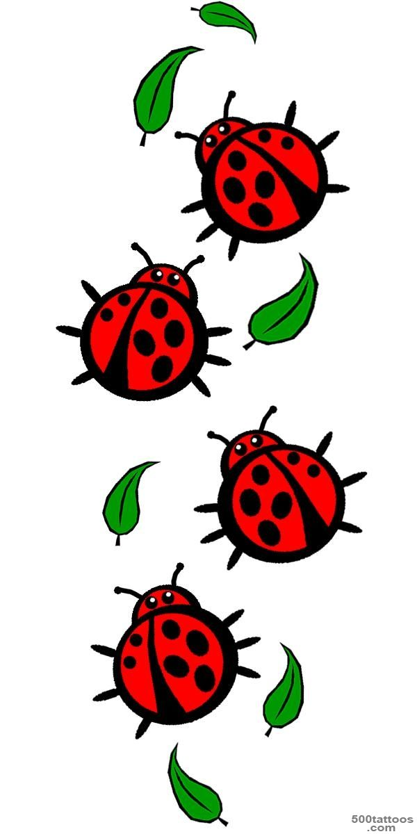 Ladybug On Green Leaf Tattoo On Right Foot   Tattoes Idea 2015  2016_50