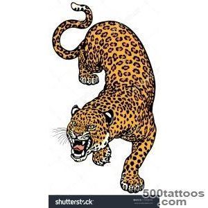 Leopard Tattoo Illustration Isolated On White Background _22