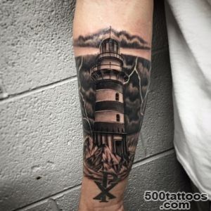 Black and grey lighthouse tattoo by Salvador Diaz at Certified _12