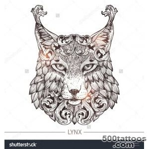 Ornamental Tattoo Lynx Head Highly Detailed Abstract Hand Drawn _16