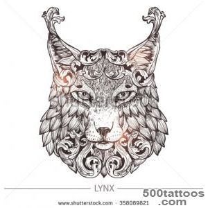 Ornamental Tattoo Lynx Head Highly Detailed Abstract Hand Drawn _28