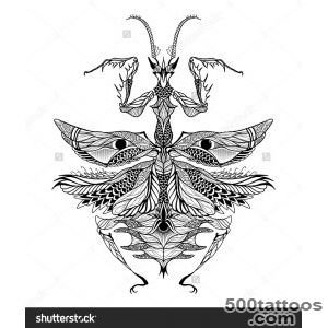 Mantis Tattoo Psychedelic, Zentangle Style Vector Illustration _11