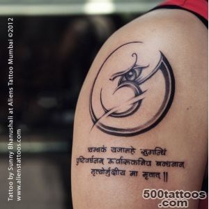 Aum with mantra tattoo by Sunny Bhanushali at Aliens Tattoo Mumbai_2