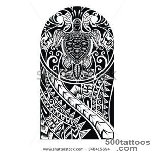 Traditional Maori Tattoo Design With Turtle Stock Vector _34