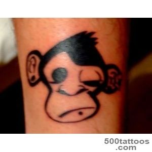 Man Face Portrait And Monkey Tattoo On Sleeve   Tattoes Idea 2015 _5