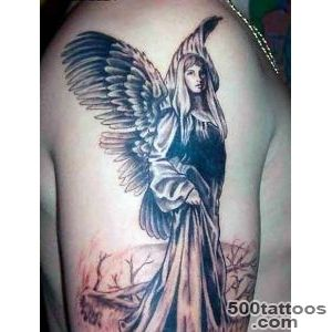 Pretty Girl Showing Shoulder Tattoo Of Saint Mary God Mother _47