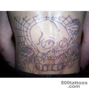 backpiece skull and roses with banner – Tattoo Picture at _11