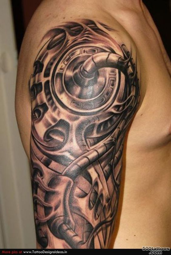 http2014tatto.comgrey ink tribal and mechanical tattoo on back ..._32
