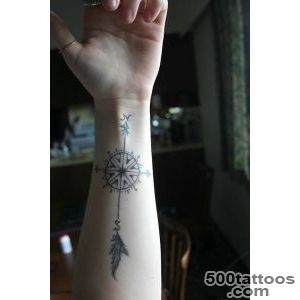 North and south cute compass tattoo on arm   TattooMagz _9