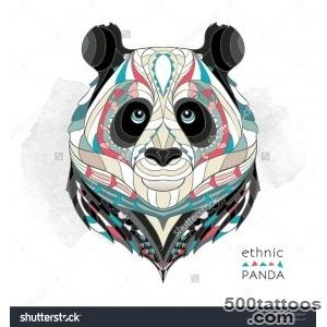 Ethnic Panda  African  Indian  Tattoo Design Stock Vector _35