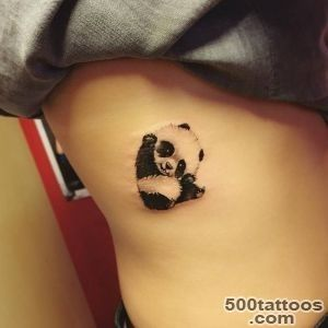 Illustrative panda tattoo on the right side   Small Tattoos for _13