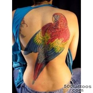 Awesome Colorful Parrot Tattoo On Full Back_31