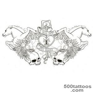 Nice Pegasus Colorless Tattoo Design By Canda Chan_38