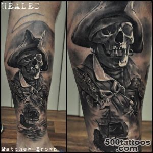 Pirate Skeleton on Guys Leg  Best tattoo ideas amp designs_43