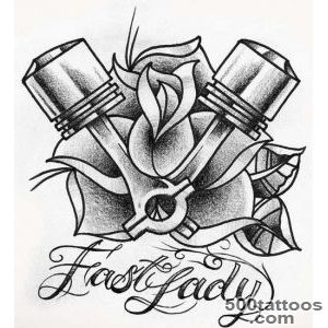 Rose Flower And Bike Piston Tattoo Design  Tattooshuntcom_26