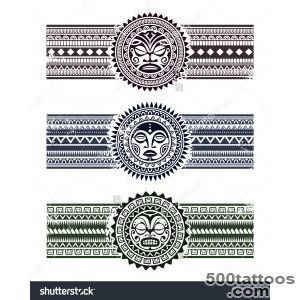 Polynesian Tattoo Styled Masks With Pattern Bracelets Vector _31