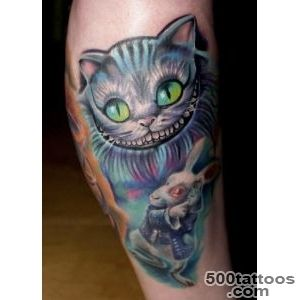 Cheshire Cat And White Rabbit Tattoo_49