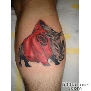 Wild rhino tattoo running in fire   Tattooimagesbiz_10
