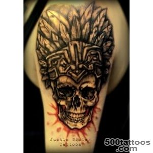 Aztec Skull Tattoo by Justin Winter Seattle, Wa  American Ritual _41