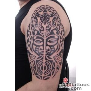 mysterious polynesian ritual mask on his arm tattoo   Polynesian _13