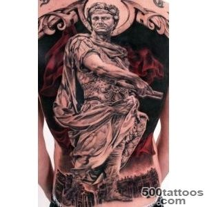 Roman style full #back #tattoo I love the dark red used in the _24