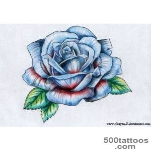 Blue Ink Rose Tattoo Design For Leg Calf_17