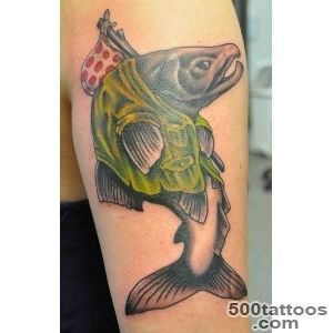 Hobo Salmon Tattoo By Brian Ulrich  Living Arts Tattoo, New Hope, Pa_1