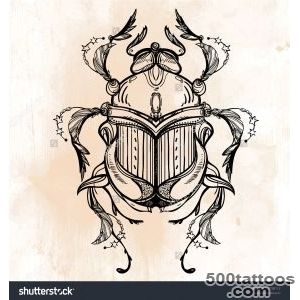 Beautiful Hand Drawn Scarab Beetle, Insect Vintage Style Tattoo _13