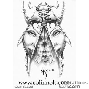 Egyptian Scarab Tattoo Designs Sketch Coloring Page_49