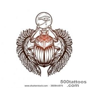 Isolated Vector Tattoo Image Black Scarab Beetleon A White _32