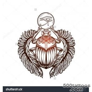 Isolated Vector Tattoo Image Black Scarab Beetleon A White _42
