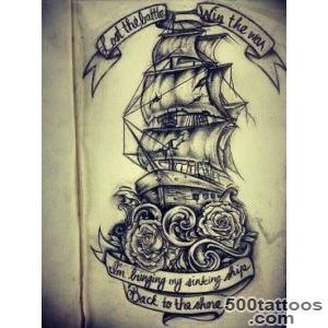 Amazing ship tattoo with roses and scrolls  Ink  Pinterest _29