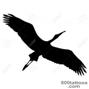 Illustration In Style Of Black Silhouette Of Stork Royalty Free _23