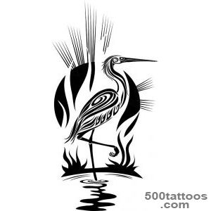 Tattoos Tattoos » Animal » stork tribal bird tattoo design_20