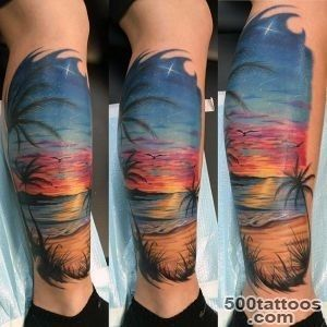 90 Sunset Tattoos For Men   Fading Daylight Sky Designs_3