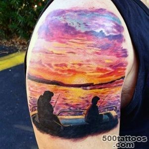 90 Sunset Tattoos For Men   Fading Daylight Sky Designs_9