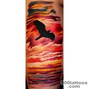 Off the Map Tattoo  Tattoos  David Page  Sunset Bird Tattoo_48