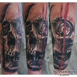 skull tattoo and elements of biomechanics   Skull tattoos_24