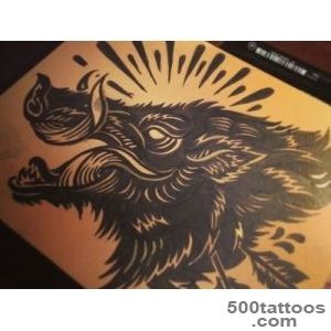 Black Ink Boar Tattoo Design By Derrick Castle_4