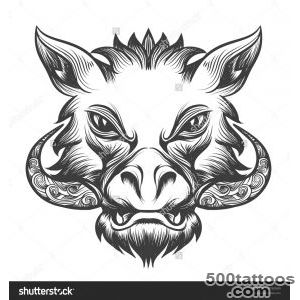 Boar Head Drawn In Tattoo Style Isolated On White Stock Vector _48