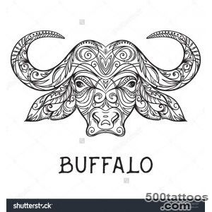 Buffalo Head With Abstract Ornament Tattoo Art Design Concept _22