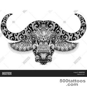 Tattoo, Bull, Buffalo Head With Horns Stock Photo amp Stock Images _38