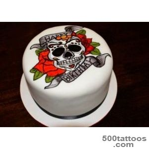 Hand Painted Sugar Skull Tattoo Cake_22