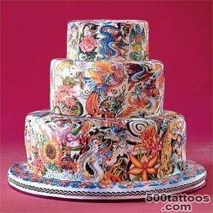 Round Tattoo Wedding Cake  Wedding Cakes Photos  Bridescom_4