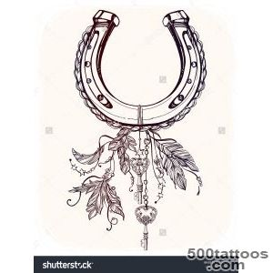 Elegant Good Luck Horseshoe Amulet Charm With Feathers And Stars _29