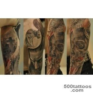 tattoo with various grotesque figures including skulls   Skull tattoos_1